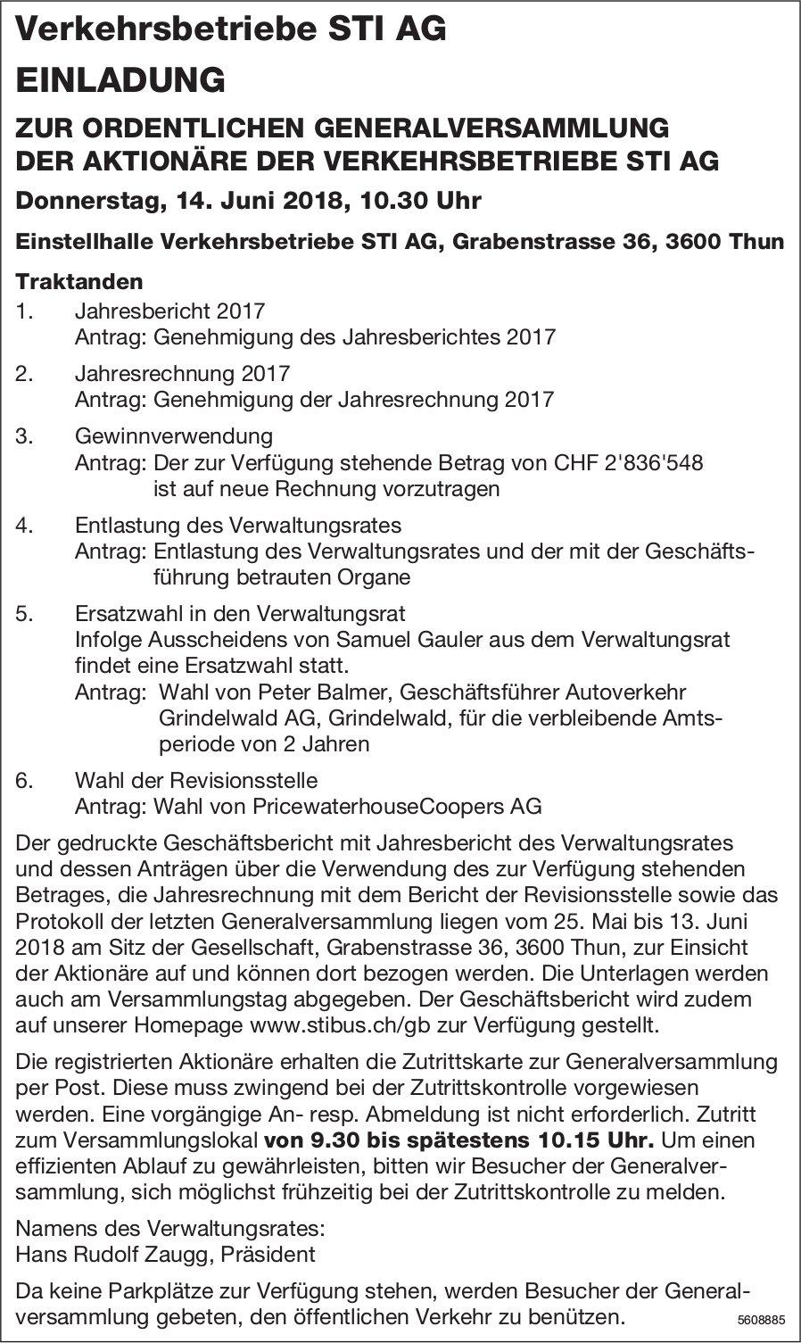 Einladung, ordentliche Generalversammlung, Verkehrsbetriebe STI AG, 14. Juni, Thun