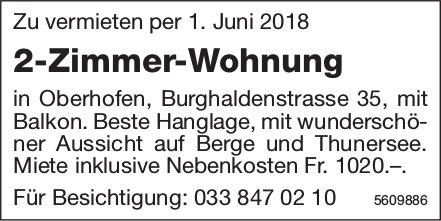 2-Zimmer-Wohnung in Oberhofen zu vermieten