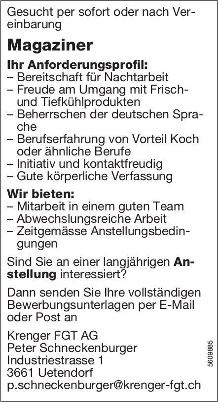 Magaziner, Krenger FGT AG, Uetendorf, gesucht