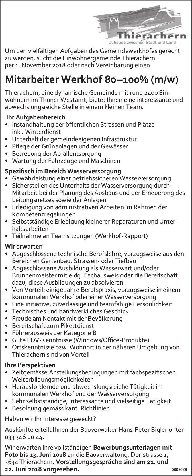 Mitarbeiter/in Werkhof, Gemeinde Thierachern, gesucht