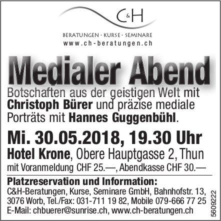 C&H-Beratungen, Kurse, Seminare GmbH - Medialer Abend am 30. Mai