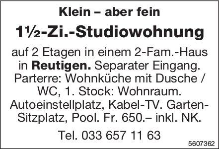 1½-Zi.-Studiowohnung in Reutigen zu vermieten