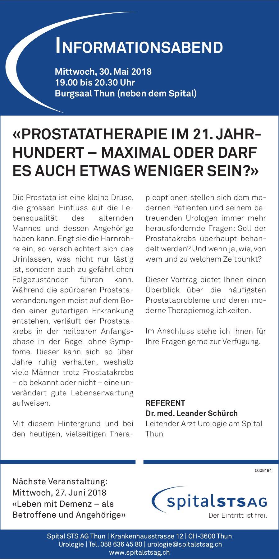 "Spital STS AG Thun - Informationsabend «Prostatatherapie im 21. Jahrundert..."" am 30. Mai"