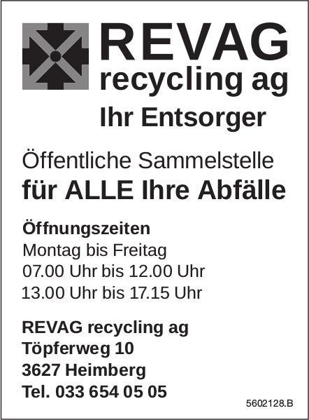 REVAG recycling ag, Heimberg - Ihr Entsorger