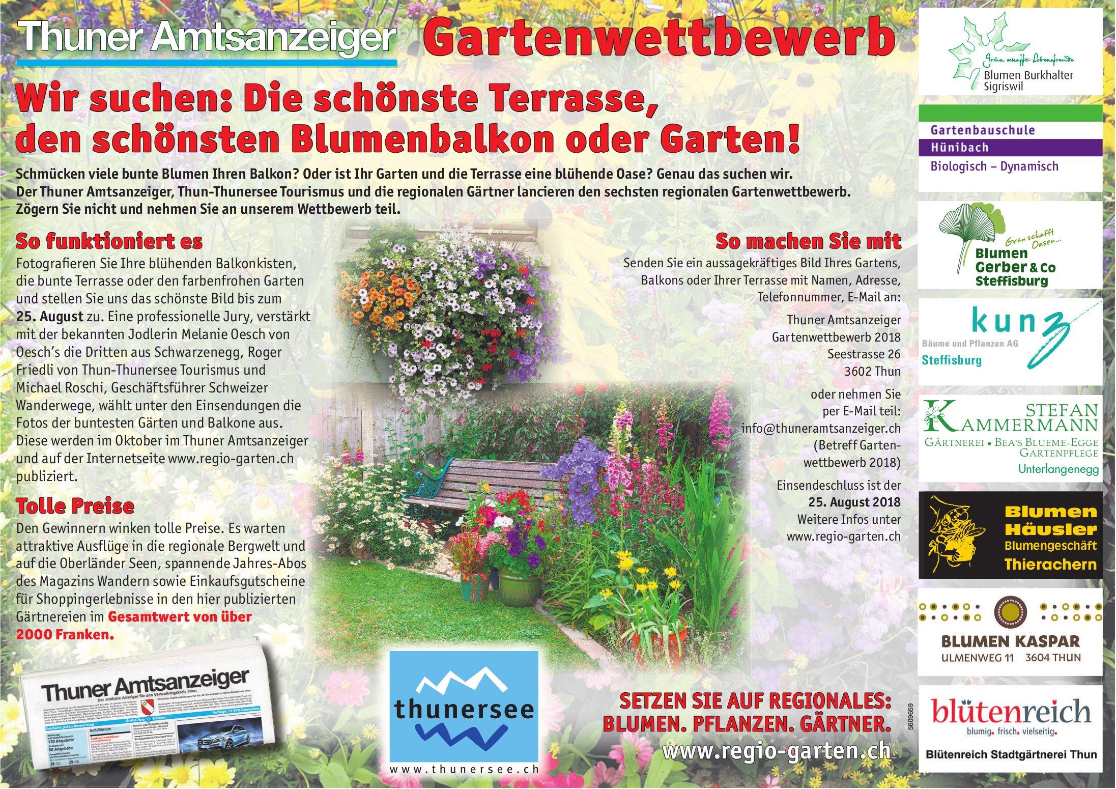 Thuner Amtsanzeiger Gartenwettbewerb - Die schönste Terrasse, den schönsten Blumenbalkon oder Garten