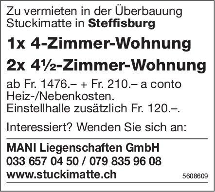 1x 4-Zi.-Wohnung sowie 2x 4½-Zi.-Wohnung in Steffisburg zu vermieten
