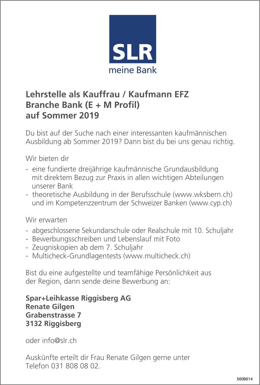 Lehrstelle als Kauffrau / Kaufmann EFZ, Spar + Leihkasse Riggisberg AG, zu vergeben