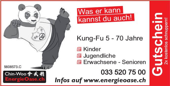 Chin-Woo EnergieOase - Kung-Fu 5 - 70 Jahre / Gutschein 2x kostenlos schnuppern!