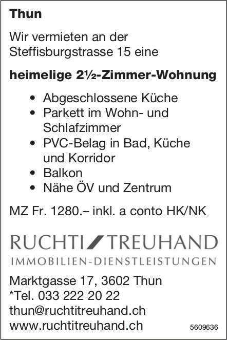 Heimelige 2½-Zimmer-Wohnung in Thun zu vermieten