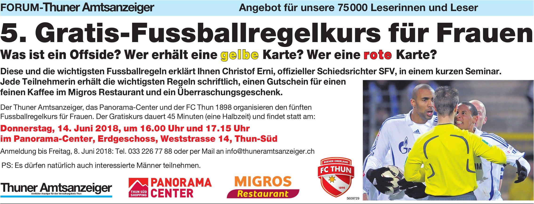 Forum-Thuner Amtsanzeiger - 5. Gratis-Fussballregelkurs für Frauen am 14. Juni