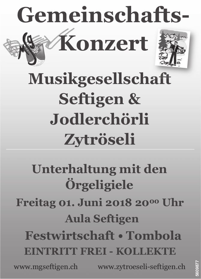 Musikgesellschaft Seftigen & Jodlerchörli Zytröseli - Gemeinschafts-Konzert am 1. Juni