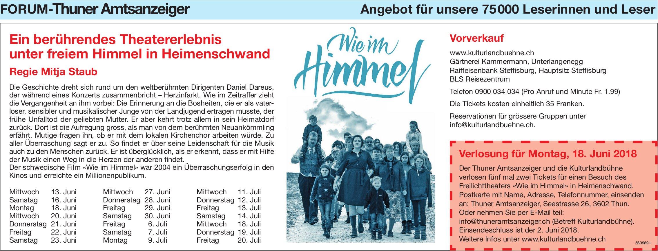 Forum-Thuner Amtzanzeiger - Ein berührendes Theatererlebnis unter freiem Himmel in Heimenschwand