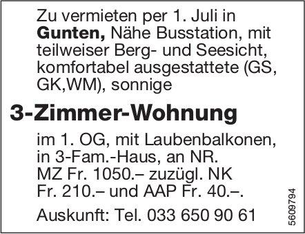 3-Zimmer-Wohnung in Gunten zu vermieten