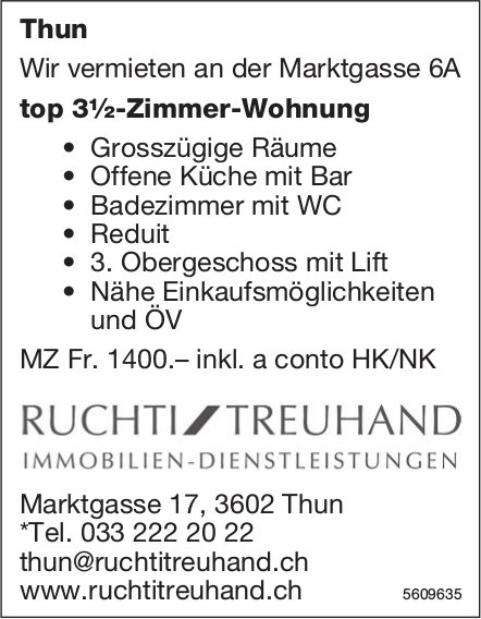Top 3½-Zimmer-Wohnung in Thun zu vermieten