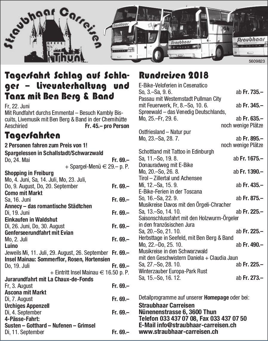 Straubhaar Carreisen - Programm & Events