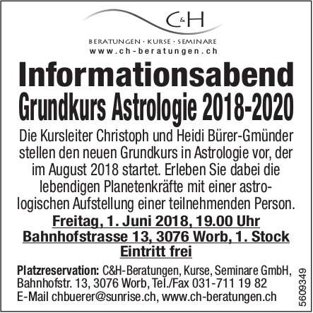 C&H-Beratungen, Kurse, Seminare GmbH - Informationsabend Grundkurs Astrologie 2018-2020 am 1. Juni