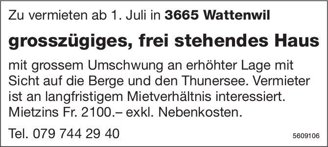 Grosszügiges, frei stehendes Haus in Wattenwil zu vermieten