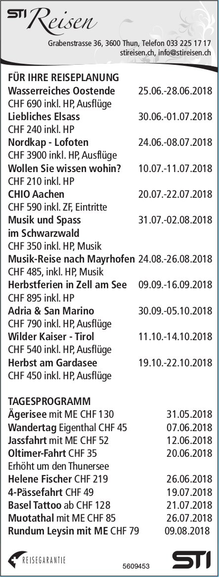 STI Reisen - Programm & Events