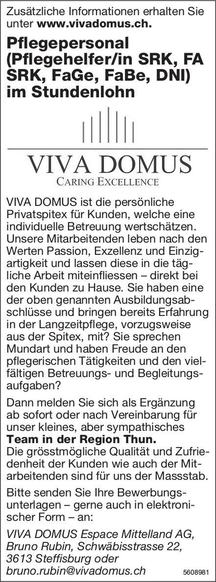 Pflegepersonal (Pflegehelfer/in SRK, FA SRK, FaGe, FaBe, DNI), Viva Domus, Steffisburg, gesucht
