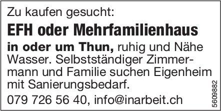 EFH oder Mehrfamilienhaus in oder um Thun gesucht