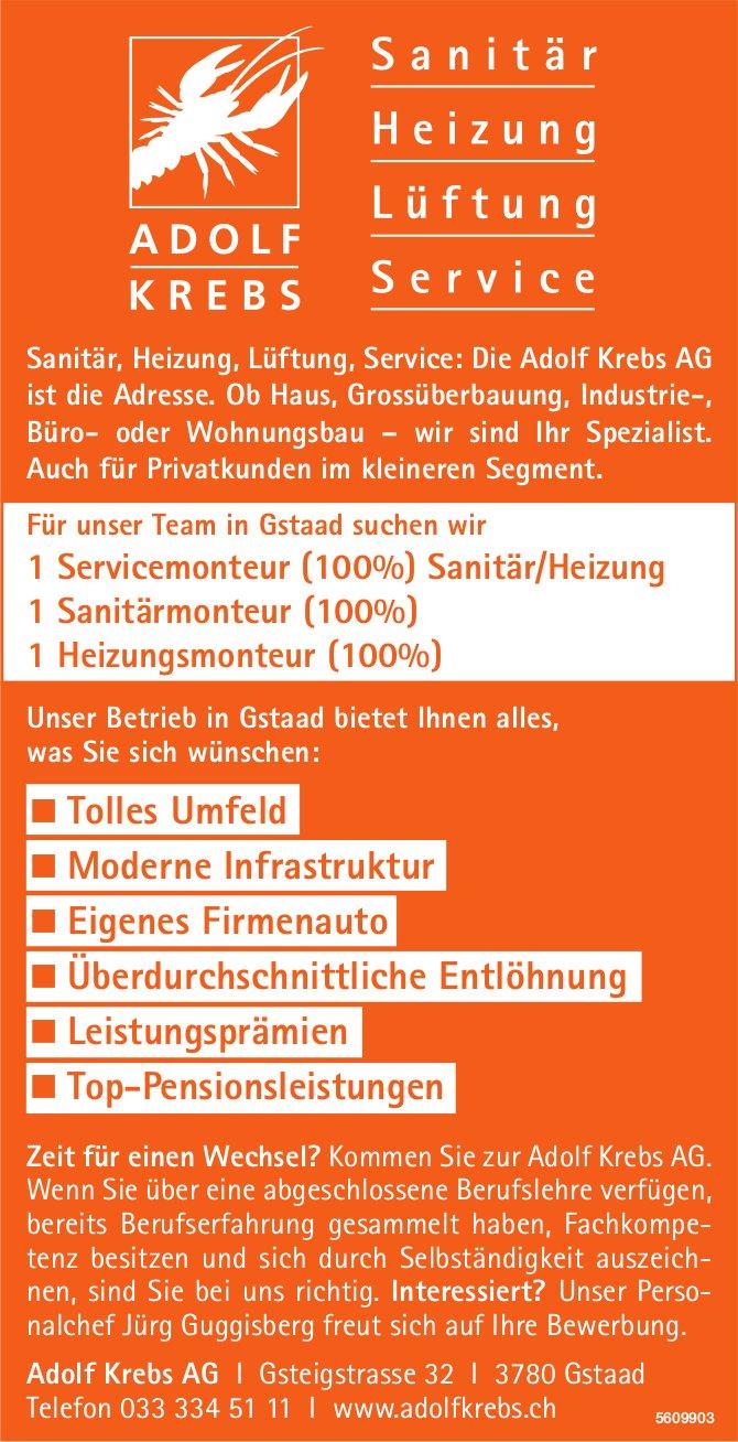Sanitärmonteur, Sanitärmonteur, Heizungsmonteur, Adolf Krebs AG, Gstaad, gesucht