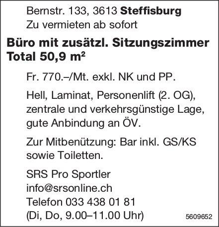Büro mit zusätzl. Sitzungszimmer Total 50,9 m2 in Steffisburg zu vermieten
