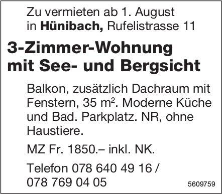 3-Zimmer-Wohnung mit See- und Bergsicht in Hünibach zu vermieten