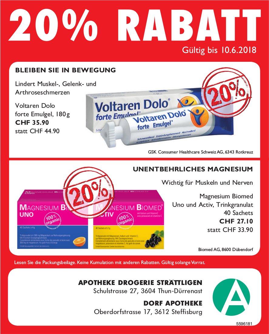 20% Rabatt - Apotheke Drogerie Strättligen, Thun-Dürrenast & Dorf Apotheke Steffisburg