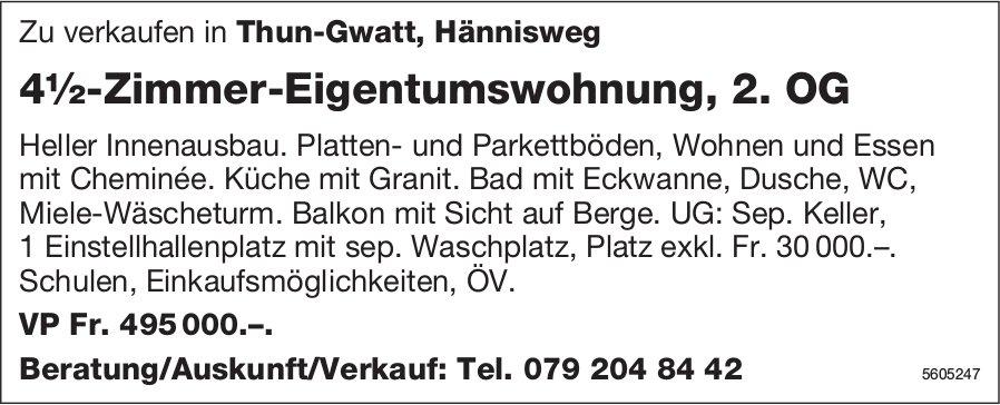 4½-Zimmer-Eigentumswohnung, 2. OG in Thun-Gwatt zu verkaufen