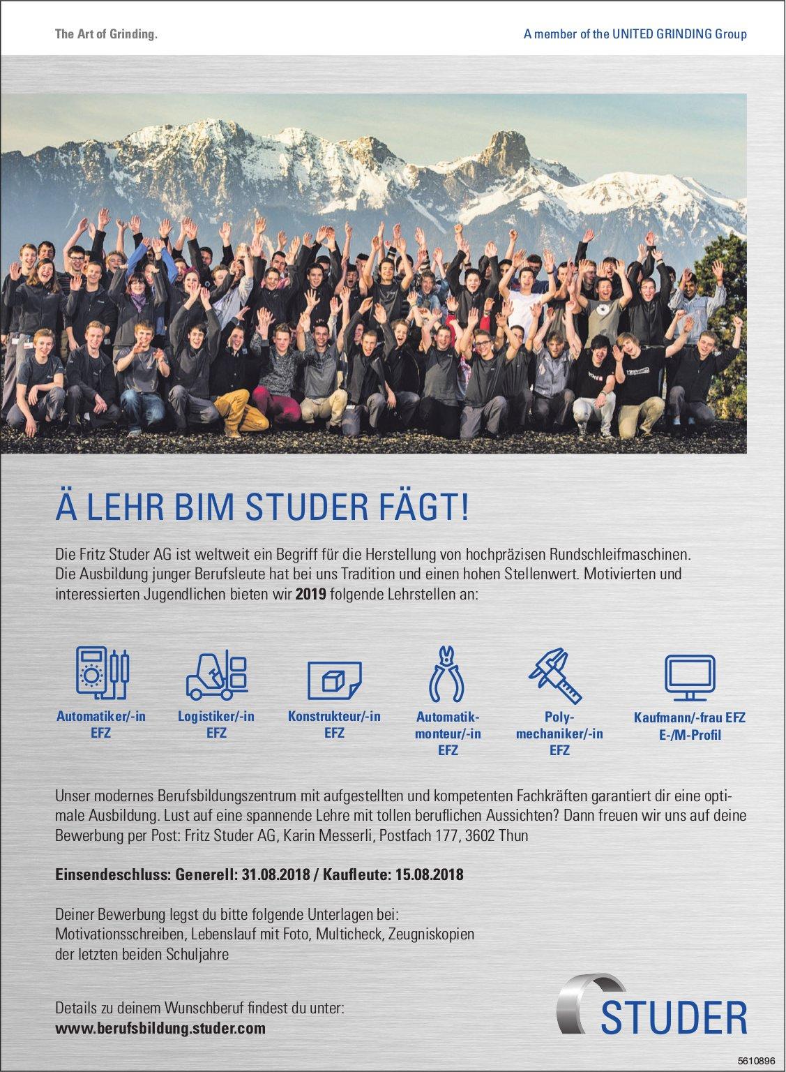 Lehrstellen 2019, Fritz Studer AG, Thun, zu vergeben