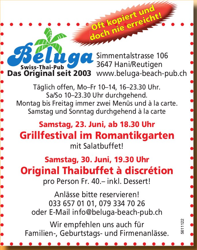 Beluga Swiss-Thai-Pub - Programm & Events vom 23. & 30. Juni