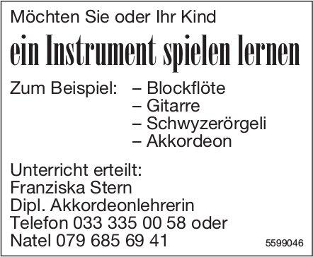 Möchten Sie oder Ihr Kind ein Instrument spielen lernen?