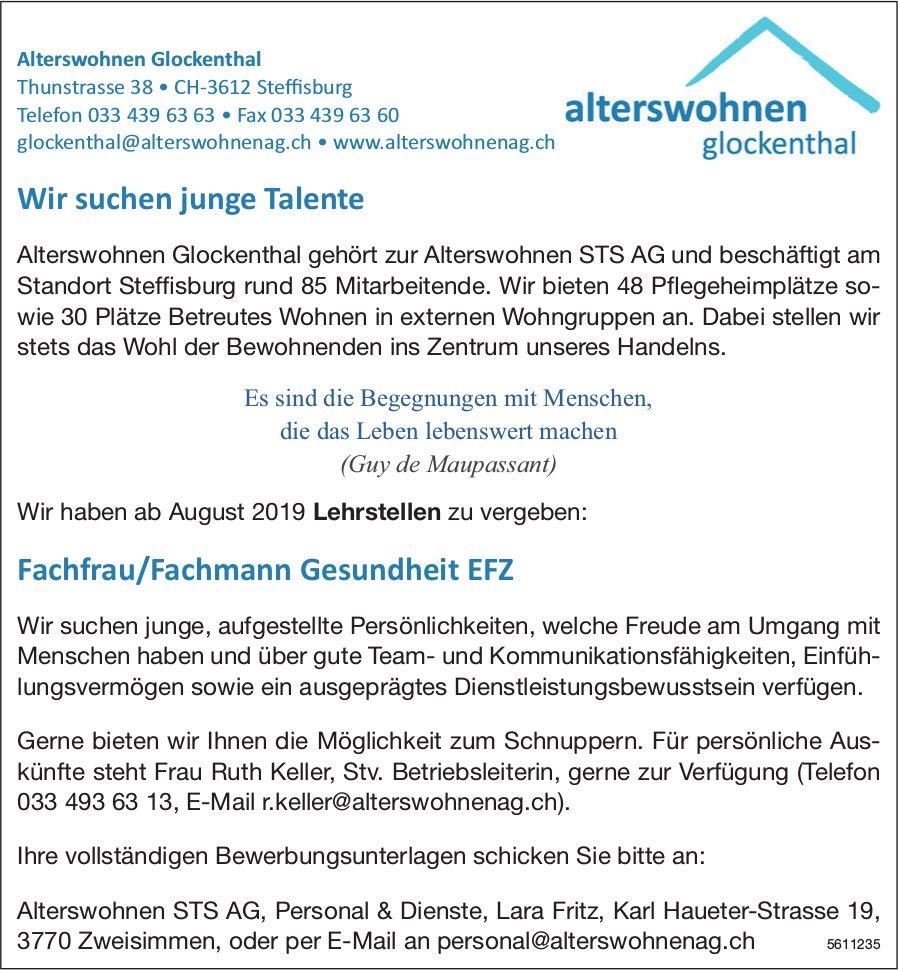 Lehrstellen 2019,  Fachfrau/Fachmann Gesundheit EFZ, Alterswohnen Glockenthal, Steffisburg, frei