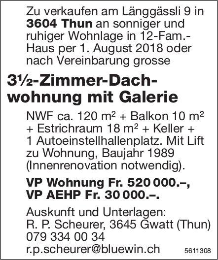 3½-Zimmer-Dachwohnung mit Galerie in Thun zu verkaufen