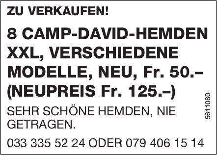 8 CAMP-DAVID-HEMDEN XXL, VERSCHIEDENE MODELLE, NEU, Fr. 50.– (NEUPREIS Fr. 125.–) ZU VERKAUFEN