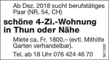 Schöne 4-Zi.-Wohnung in Thun oder Nähe gesucht
