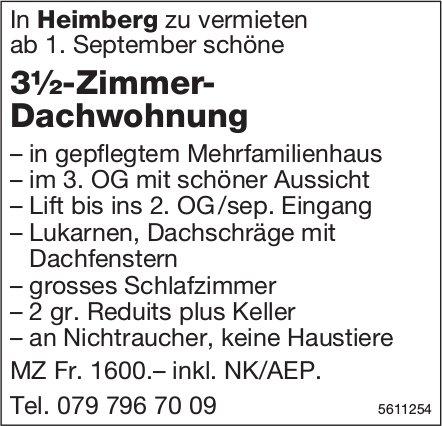 3½-Zimmer-Dachwohnung in Heimberg zu vermieten