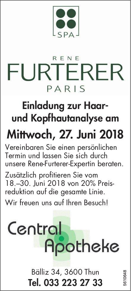Central Apotheke - Rene Furterer Paris: Einladung zur Haar- und Kopfhautanalyse am 27. Juni