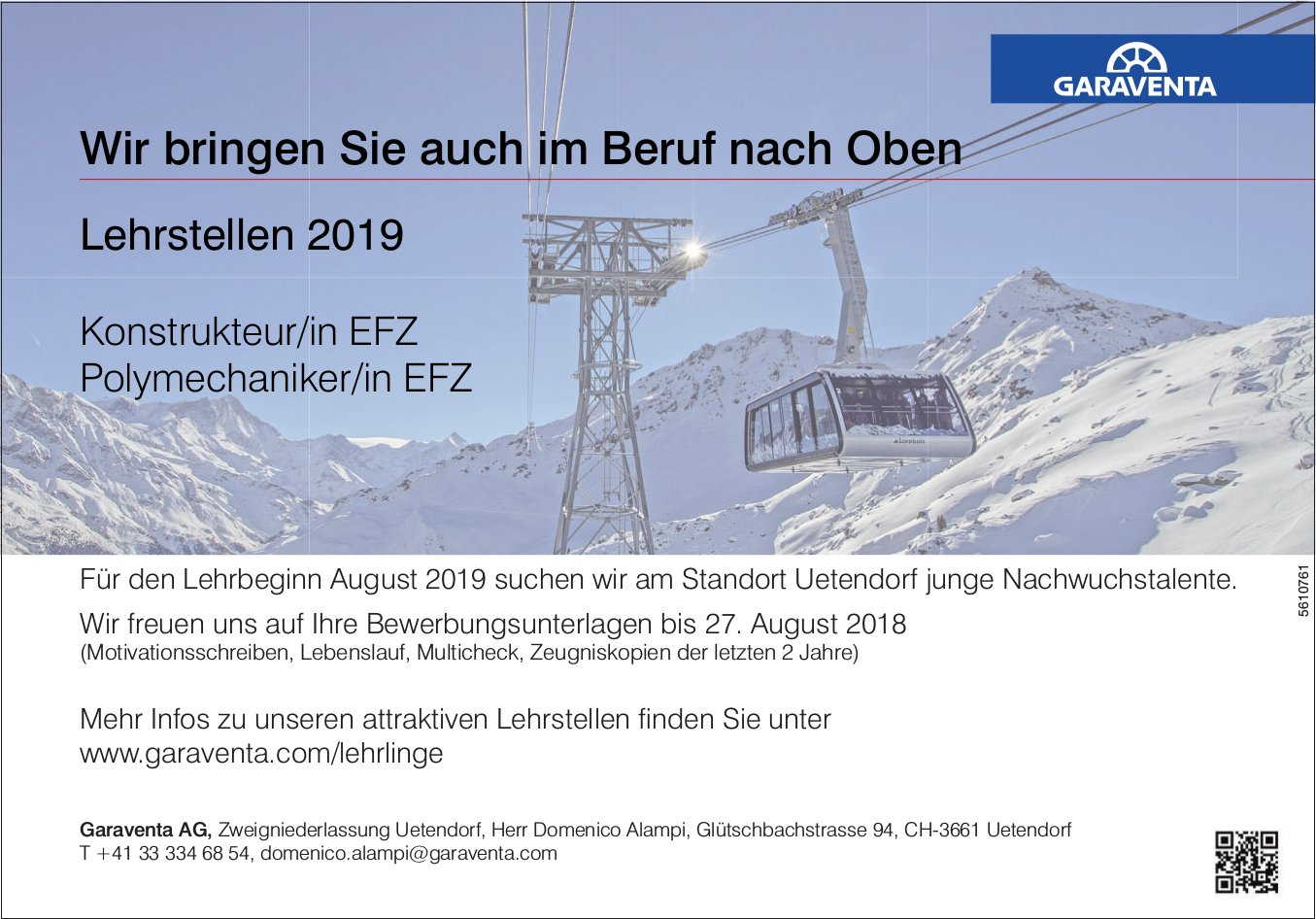 Lehrstellen 2019 als Konstrukteur/in EFZ Polymechaniker/in EFZ, Garaventa AG, Uetendorf, zu vergeben