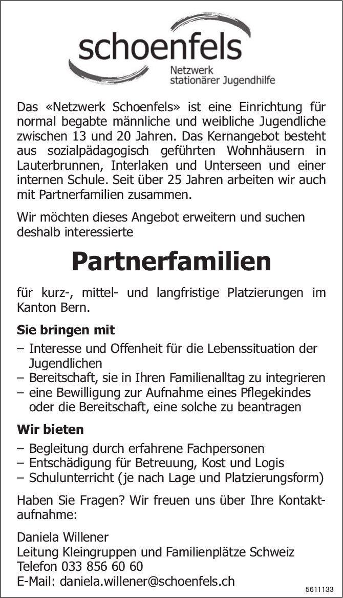 Partnerfamilien, Schoenfels, Netzwerk stationärer Jugendhilfe, gesucht