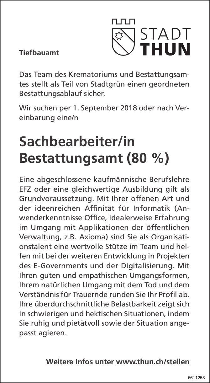 Sachbearbeiter/in Bestattungsamt, Stadt Thun, gesucht