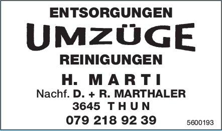H. MARTI - ENTSORGUNGEN, UMZÜGE, REINIGUNGEN