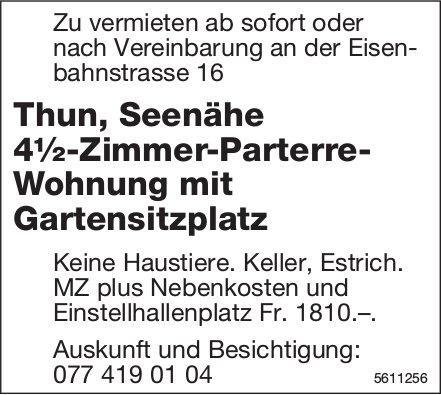 Thun, Seenähe 4½-Zimmer-Parterre- Wohnung mit Gartensitzplatz zu vermieten