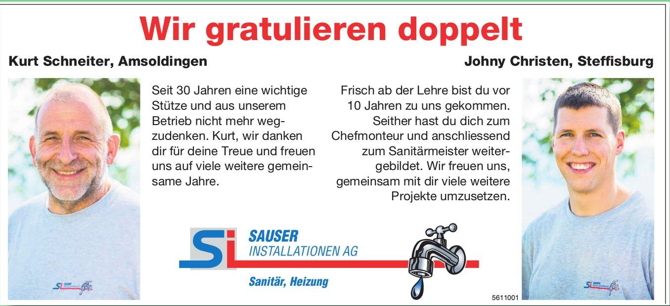 SAUSER INSTALLATIONEN AG - Wir gratulieren doppelt: Kurt Schneiter und Johny Christen