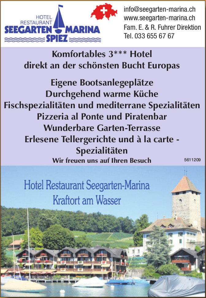 Hotel Restaurant Seegarten-Marina - Kraftort am Wasser