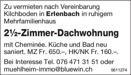 2½-Zimmer-Dachwohnung in Erlenbach zu vermieten