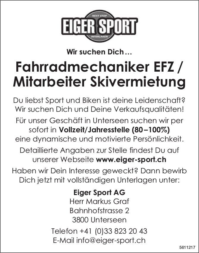 Fahrradmechaniker EFZ / Mitarbeiter Skivermietung, Eiger Sport AG, Unterseen, gesucht
