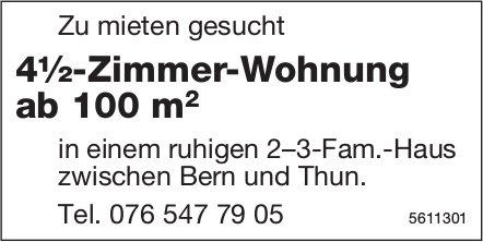 4½-Zimmer-Wohnung ab 100 m2 zwischen Bern und Thun zu mieten gesucht