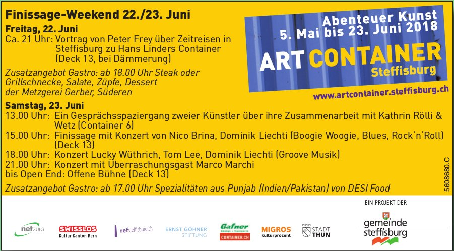 ART CONTAINER Steffisburg - Abenteuer Kunst bis 23. Juni / Finissage-Weekend 22./23. Juni