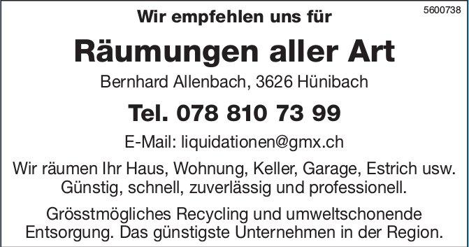 Bernhard Allenbach, 3626 Hünibach - Wir empfehlen uns für Räumungen aller Art
